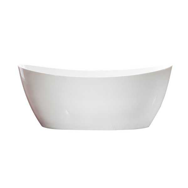 Azzuri Maya Free Standing Acrylic 67-inch Soaking Tub With Center Drain, Pop-up Drain, and Overflow