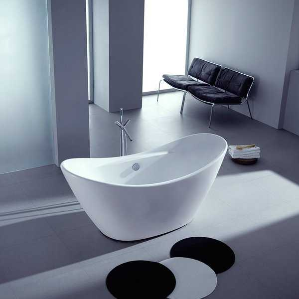 Double Slipper 68-inch Freestanding Acrylic Bathtub - White