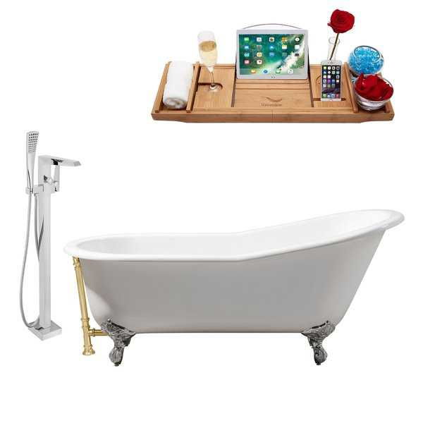 Cast Iron Tub, Faucet and Tray Set 67' RH5220CH-GLD-100