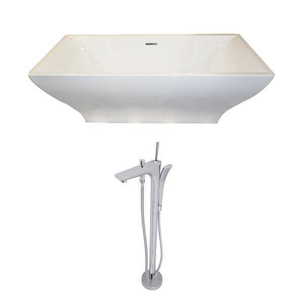 Anzzi Vision 5.9-foot Acrylic Double Slipper Freestanding Soaking Bathtub in White and Kase Faucet in Chrome
