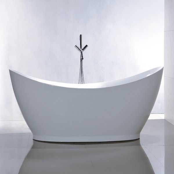 Freestanding 67-inch Double Slipper Style White Acrylic Bathtub