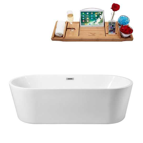 59' Streamline N-160-60FSWH-FM Soaking Freestanding Tub and Tray With Internal Drain