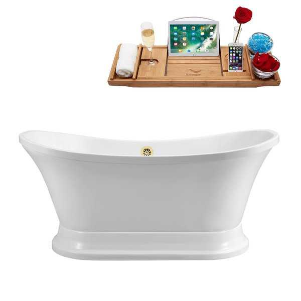 60' Streamline N200GLD Soaking Freestanding Tub and Tray With External Drain