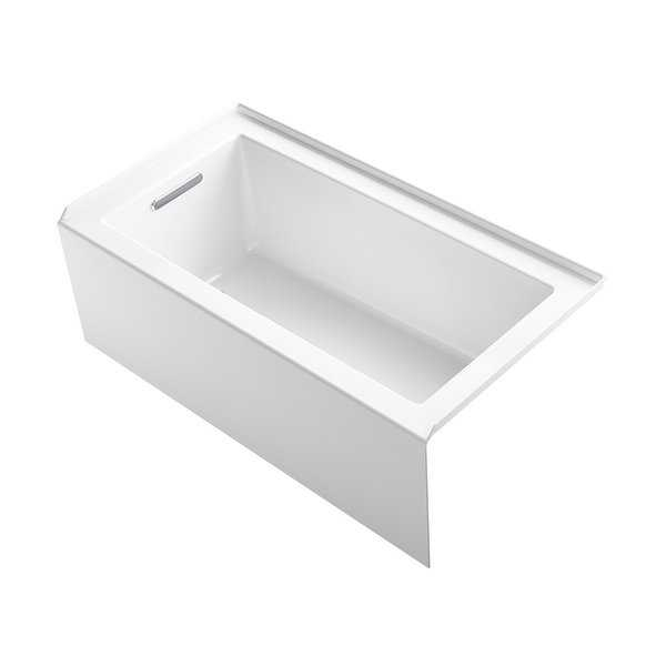 Kohler K-20202-LA Underscore 60' Soaking Bathtub for Three Wall Alcove Installation with Left Drain and 68 Gallon Water Capacity