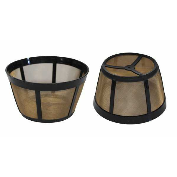 2pk Replacement Gold-Tone Basket Coffee Filters, Fits Bunn Coffee Makers, Washable & Reusable
