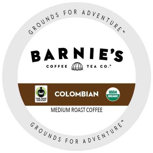 Barnie's Fairtrade Organic Colombian Dark Roast And Extra Bold Single Serve Coffee Cups for Keurig K-Cup Brewers 88 Count