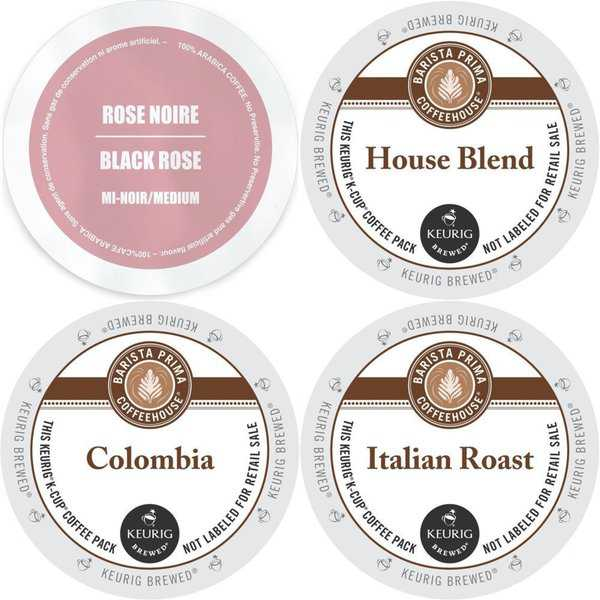 Faro and Barista Prima K-Cup Variety Pack featuring Colombia, Rose Noire, Italian Roast & House Blend, Sampler 96 Count